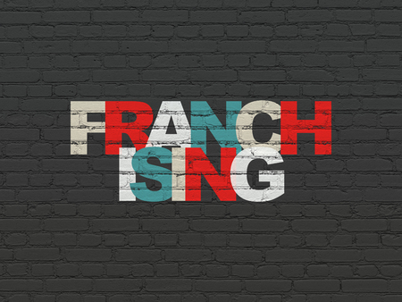 franchising: Finance concept: Painted multicolor text Franchising on Black Brick wall background