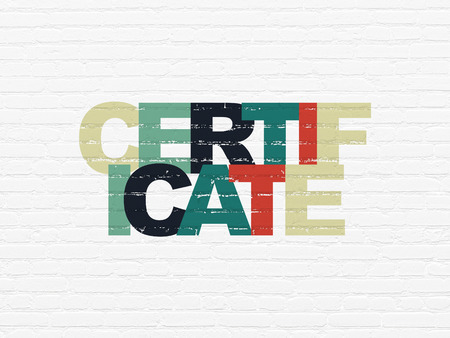 criminal act: Law concept: Painted multicolor text Certificate on White Brick wall background