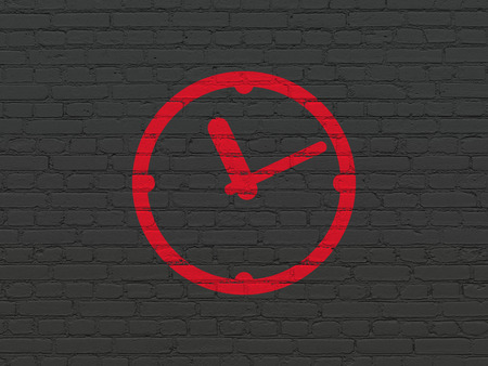 cronologia: Time concept: Painted red Clock icon on Black Brick wall background