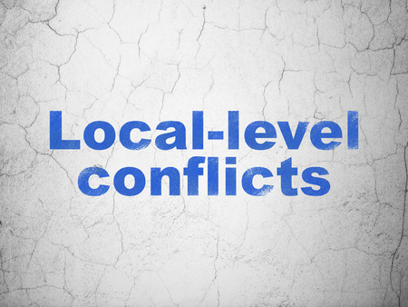 local elections: Politics concept: Blue Local-level Conflicts on textured concrete wall background