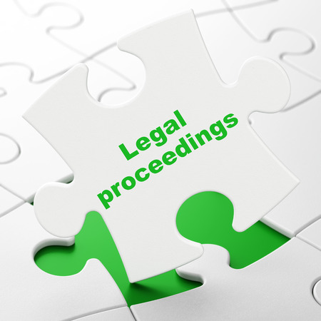 court proceedings: Law concept: Legal Proceedings on White puzzle pieces background, 3D rendering
