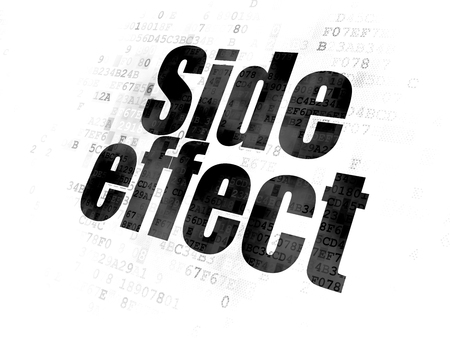 side effect: Healthcare concept: Pixelated black text Side Effect on Digital background Stock Photo