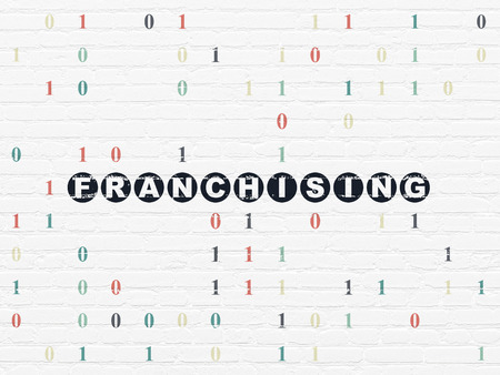 franchising: Business concept: Painted black text Franchising on White Brick wall background with Binary Code Stock Photo