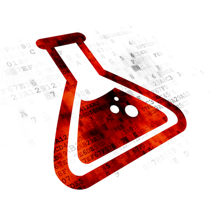 pixelated: Science concept: Pixelated red Flask icon on Digital background Stock Photo