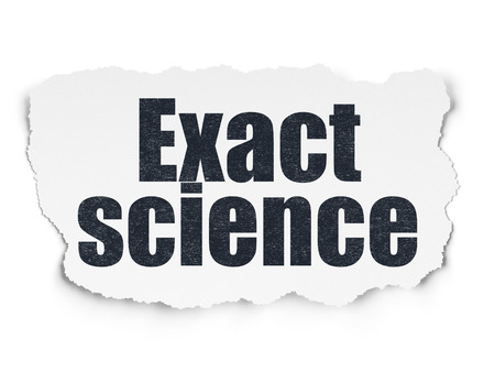 exact science: Science concept: Painted black text Exact Science on Torn Paper background with Scheme Of Hand Drawn Science Icons