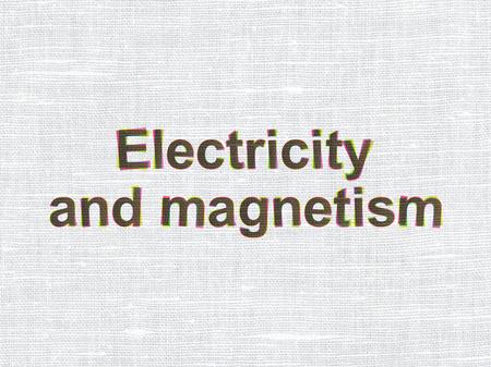 magnetismo: Concepto de la ciencia: CMYK Electricidad y Magnetismo en la tela de lino de textura de fondo Foto de archivo
