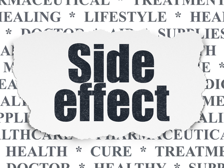 side effect: Medicine concept: Painted black text Side Effect on Torn Paper background with  Tag Cloud