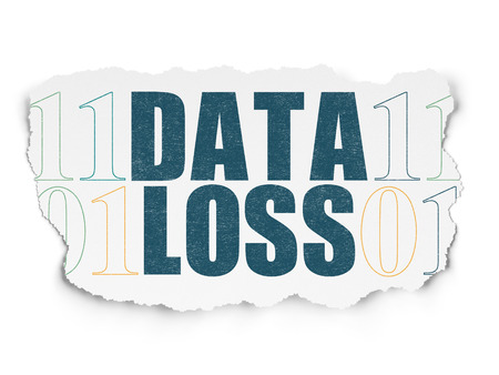 data loss: Data concept: Painted blue text Data Loss on Torn Paper background with  Binary Code Stock Photo