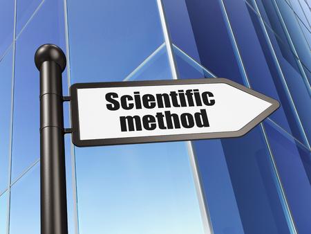 metodo cientifico: Concepto de la ciencia: Método Científico firmar en el fondo del edificio, 3D