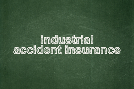 industrial accident: Insurance concept: text Industrial Accident Insurance on Green chalkboard background