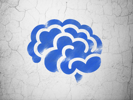 blue brain: Science concept: Blue Brain on textured concrete wall background