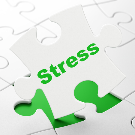 brainteaser: Medicine concept: Stress on White puzzle pieces background, 3D rendering Stock Photo