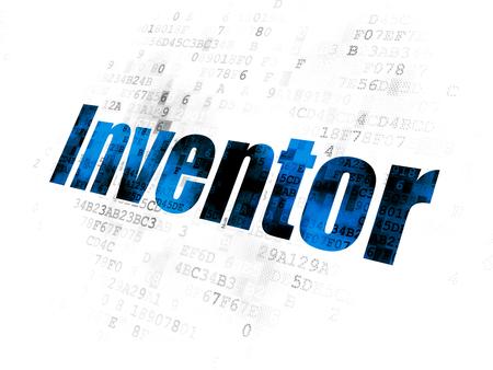 concept Science: Pixelated texte bleu Inventor sur fond numérique Banque d'images