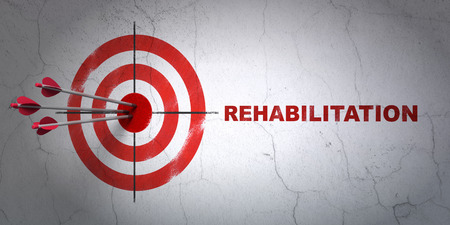 Success Health concept: arrows hitting the center of target, Red Rehabilitation on wall background, 3D rendering