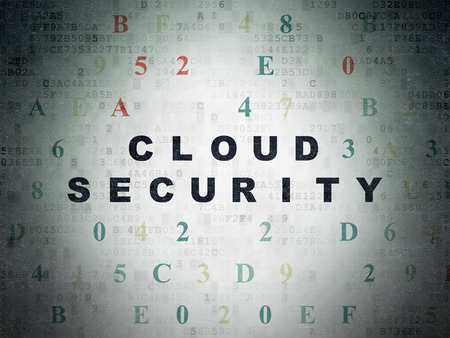 hexadecimal: Cloud computing concept: Painted black text Cloud Security on Digital Data Paper background with Hexadecimal Code