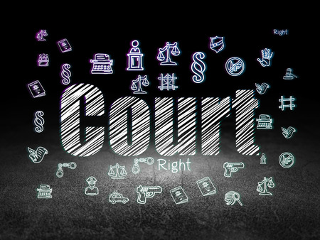 lex: Law concept: Glowing text Court,  Hand Drawn Law Icons in grunge dark room with Dirty Floor, black background Stock Photo