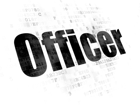 pixelated: Law concept: Pixelated black text Officer on Digital background