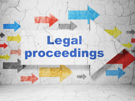 court proceedings: Law concept:  arrow with Legal Proceedings on grunge textured concrete wall background, 3D rendering