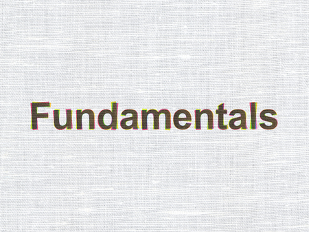 fundamentals: Science concept: CMYK Fundamentals on linen fabric texture background