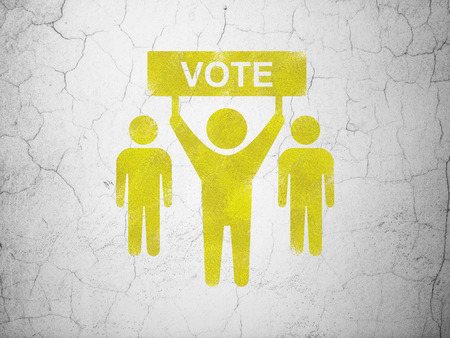 dictatorship: Politics concept: Yellow Election Campaign on textured concrete wall background
