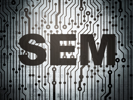 sem: Marketing concept: circuit board with  word SEM, 3D rendering