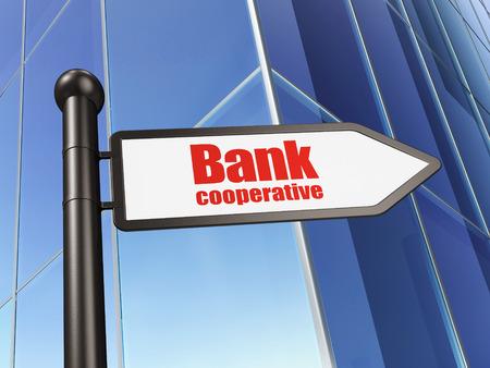 cooperativismo: Concepto de banca: Banco Cooperativo de firmar en el fondo del edificio, 3D
