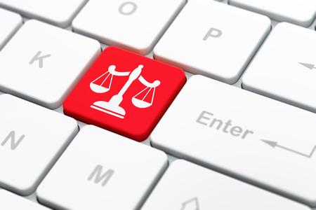 derecho penal: Concepto de la ley: Teclado de ordenador con el icono de las escalas en el fondo entra en el botón, enfoque seleccionado, 3D