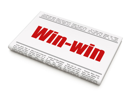 newspaper headline: Finance concept: newspaper headline Win-Win on White background, 3D rendering