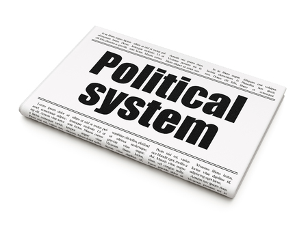 political system: Politics concept: newspaper headline Political System on White background, 3D rendering Stock Photo