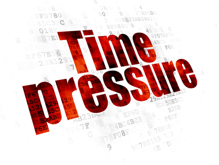 time pressure: Timeline concept: Pixelated red text Time Pressure on Digital background