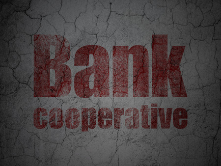 cooperativismo: Concepto de banca: Red Cooperativa Banco en grunge textura de fondo muro de hormigón