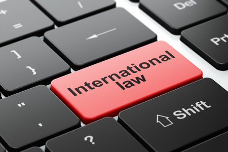 international law: Politics concept: computer keyboard with word International Law, selected focus on enter button background, 3D rendering Stock Photo