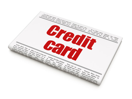 news values: Money concept: newspaper headline Credit Card on White background, 3D rendering