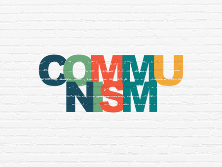communism: Politics concept: Painted multicolor text Communism on White Brick wall background Stock Photo