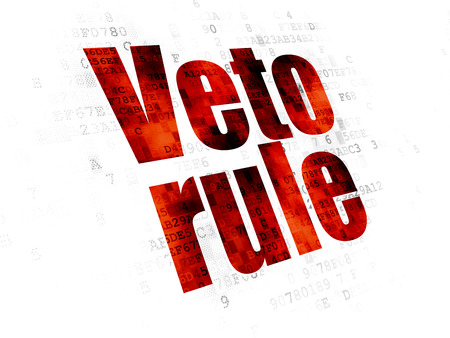 veto: Political concept: Pixelated red text Veto Rule on Digital background