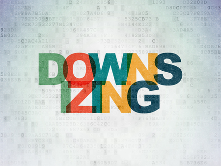 downsizing: Finance concept: Painted multicolor text Downsizing on Digital Data Paper background