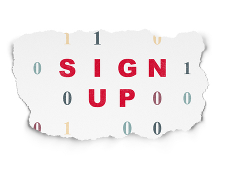 up code: Web design concept: Painted red text Sign Up on Torn Paper background with  Binary Code Stock Photo