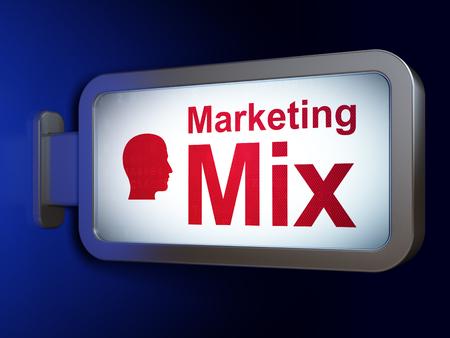 marketing mix: Marketing concept: Marketing Mix and Head on advertising billboard background, 3D rendering