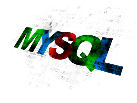 mysql: Programming concept: Pixelated multicolor text MySQL on Digital background