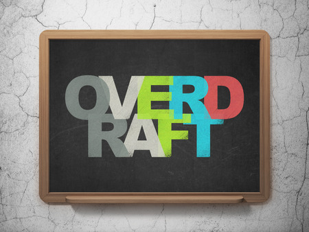 overdraft: Finance concept: Painted multicolor text Overdraft on School board background, 3D Rendering
