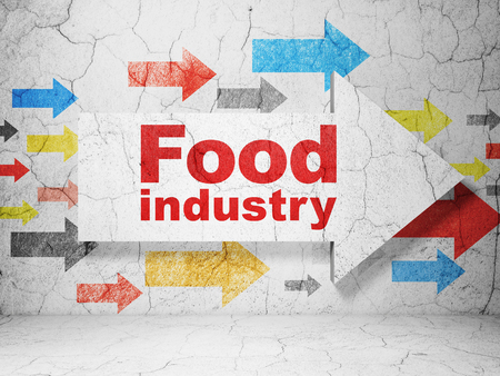 food industry: Industry concept:  arrow with Food Industry on grunge textured concrete wall background, 3D rendering