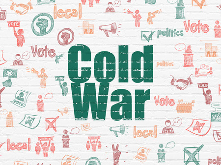 cold war: Politics concept: Painted green text Cold War on White Brick wall background with  Hand Drawn Politics Icons Stock Photo