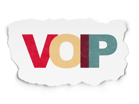 voip: Web development concept: Painted multicolor text VOIP on Torn Paper background