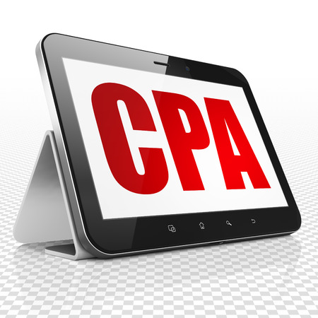 cpa: Finance concept: Tablet Computer with red text CPA on display, 3D rendering
