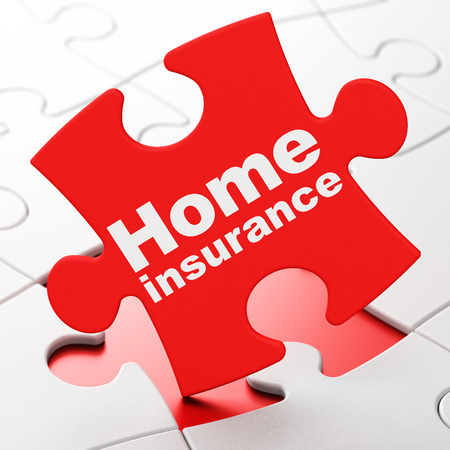 brainteaser: Insurance concept: Home Insurance on Red puzzle pieces background, 3D rendering Stock Photo