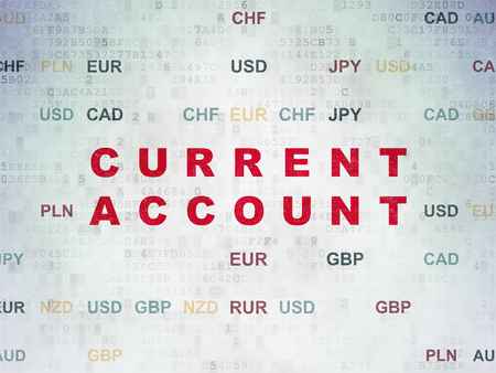 current account: Money concept: Painted red text Current Account on Digital Data Paper background with Currency