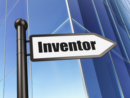 inventor: Science concept: sign Inventor on Building background, 3D rendering