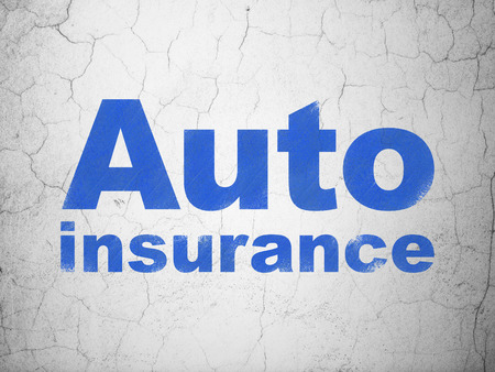 auto insurance: Insurance concept: Blue Auto Insurance on textured concrete wall background