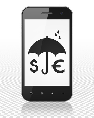 black money: Safety concept: Smartphone with black Money And Umbrella icon on display, 3D rendering