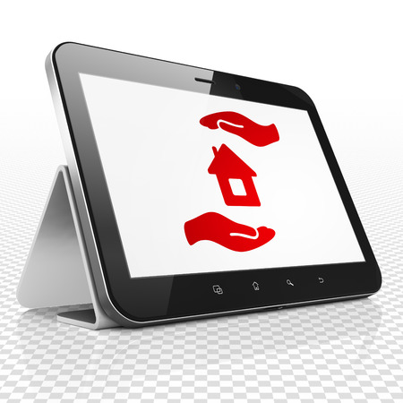 palm computer: Insurance concept: Tablet Computer with red House And Palm icon on display, 3D rendering